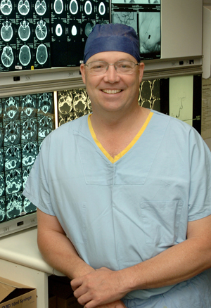 Image of Professor Morgan in medical scrubs
